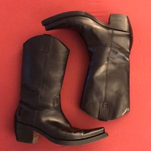 Bruno Magli Black leather cowboy boots